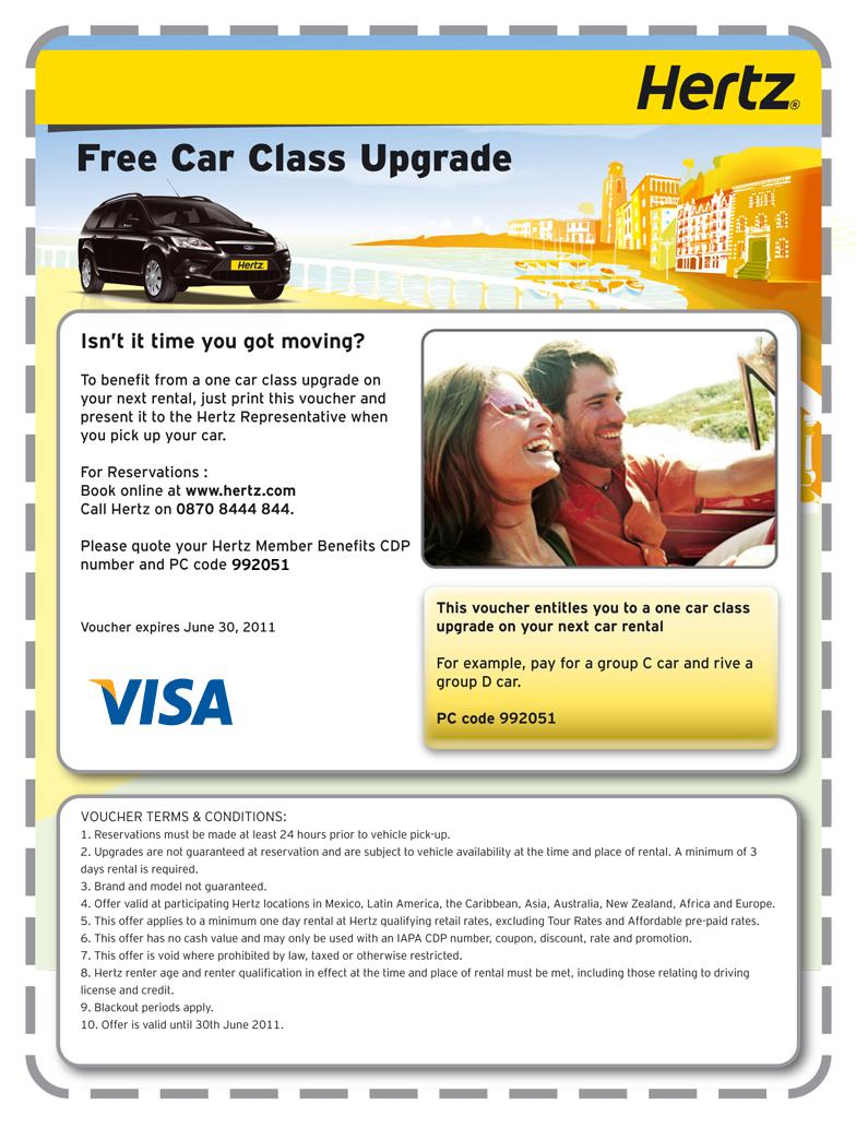 Hertz free upgrade coupon