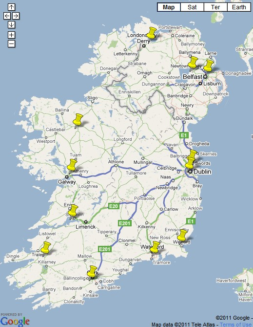 Hertz Ireland Locations Map
