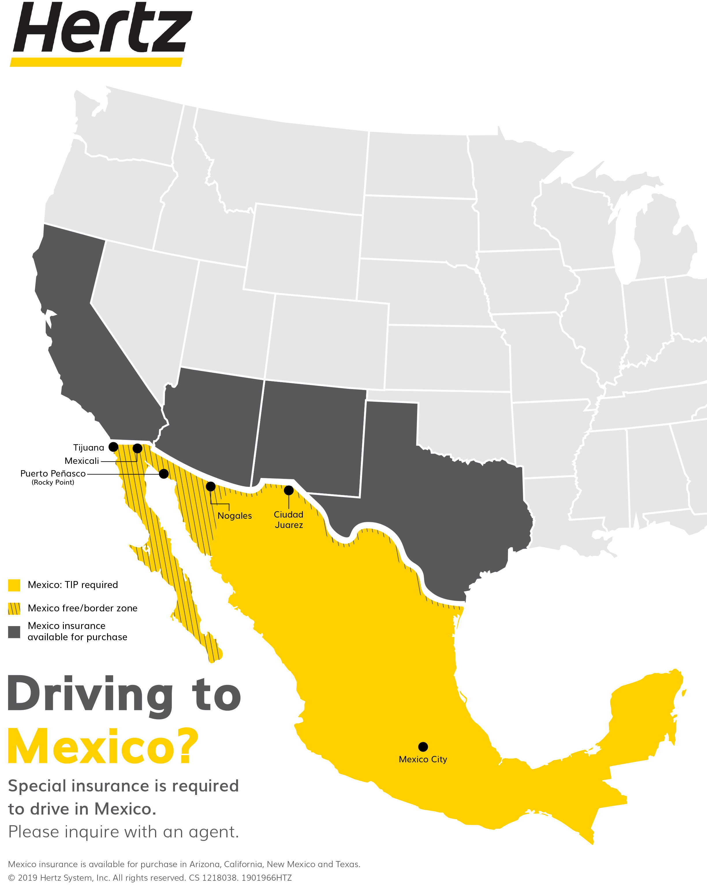 A yellow colored map of Mexico that highlights popular city destinations on the boarder of the United States.