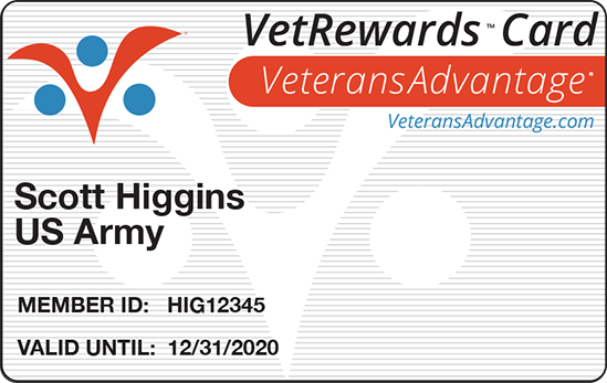 Veterans Advantage Example Card - Hertz