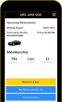 Acess your itinerary from your device - Hertz Rental Car